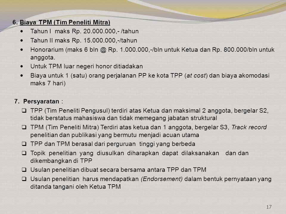6. Biaya TPM (Tim Peneliti Mitra)