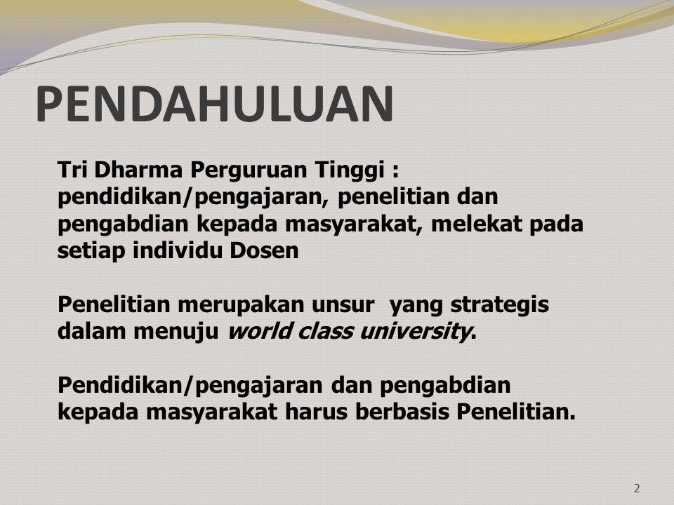 PENDAHULUAN Tri Dharma Perguruan Tinggi :