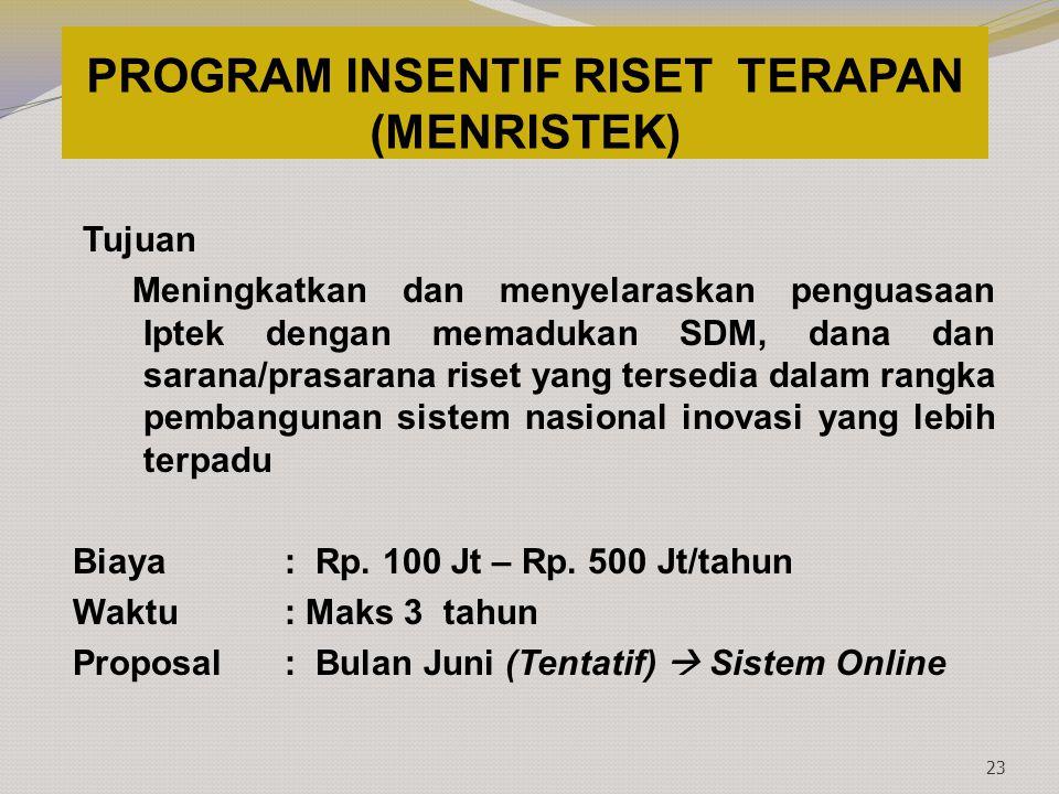 PROGRAM INSENTIF RISET TERAPAN (MENRISTEK)