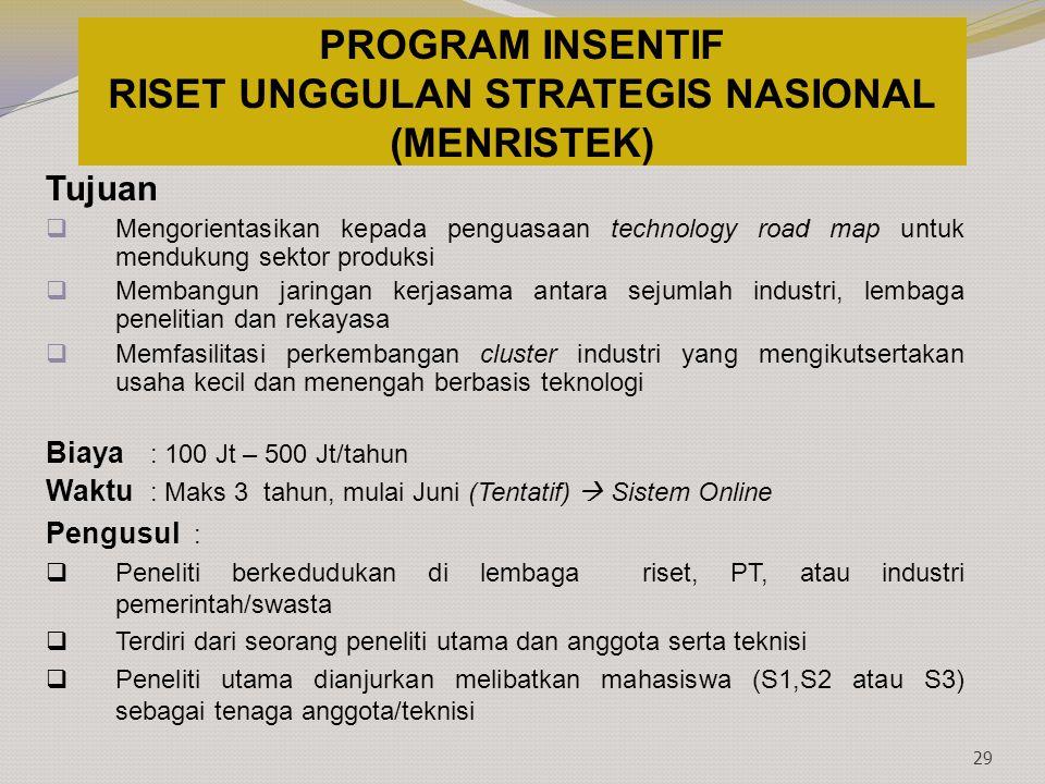 PROGRAM INSENTIF RISET UNGGULAN STRATEGIS NASIONAL (MENRISTEK)