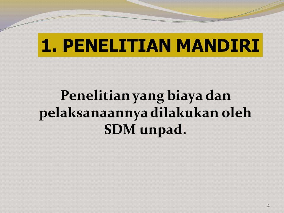 Penelitian yang biaya dan pelaksanaannya dilakukan oleh SDM unpad.