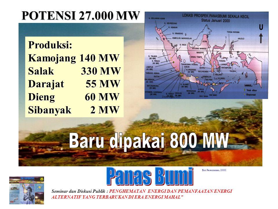 Baru dipakai 800 MW Panas Bumi POTENSI 27.000 MW Produksi: