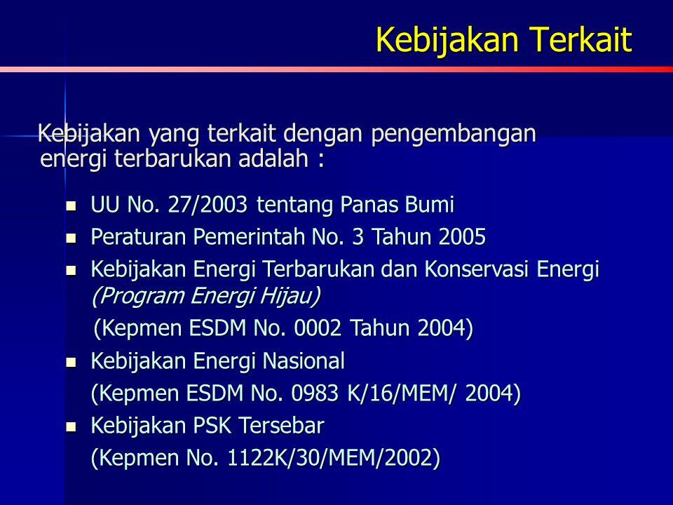Kebijakan Terkait Kebijakan yang terkait dengan pengembangan energi terbarukan adalah : UU No. 27/2003 tentang Panas Bumi.