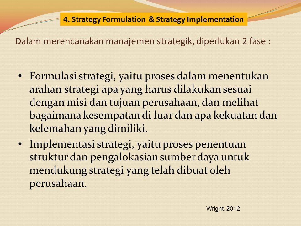 Dalam merencanakan manajemen strategik, diperlukan 2 fase :
