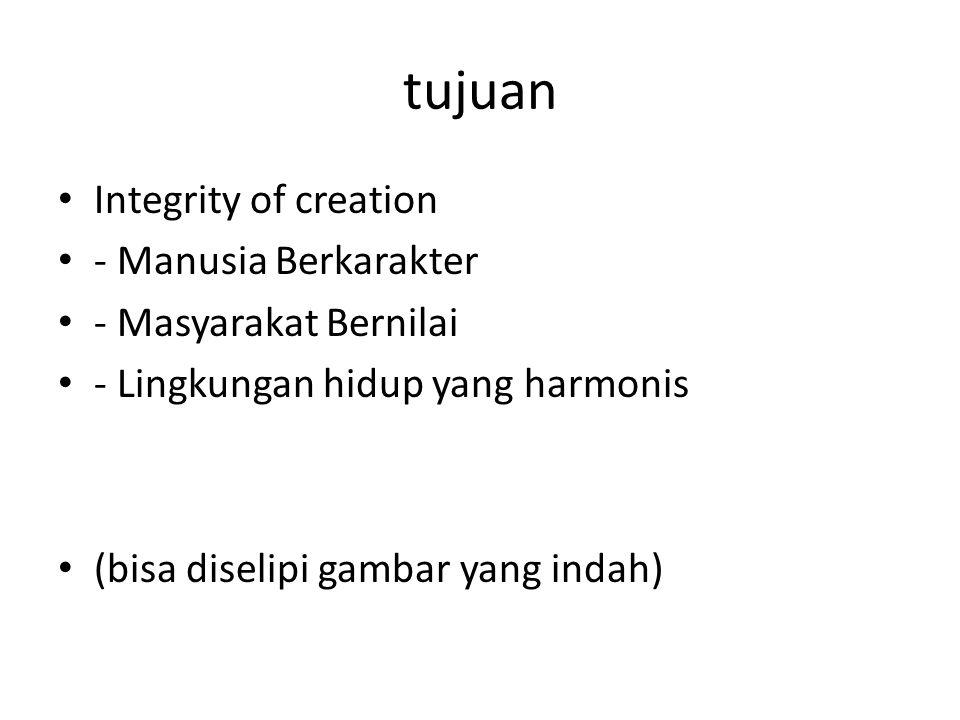 tujuan Integrity of creation - Manusia Berkarakter