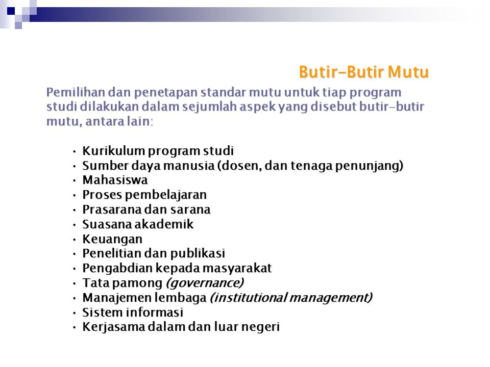 Butir-Butir Mutu