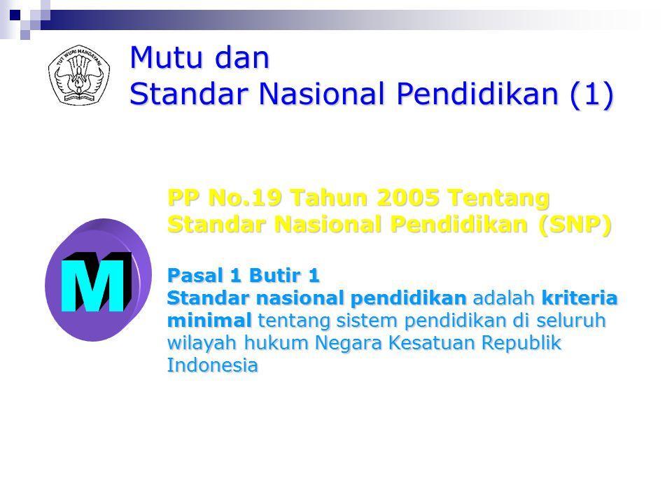 M Mutu dan Standar Nasional Pendidikan (1) PP No.19 Tahun 2005 Tentang