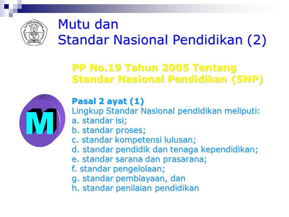 M Mutu dan Standar Nasional Pendidikan (2) PP No.19 Tahun 2005 Tentang