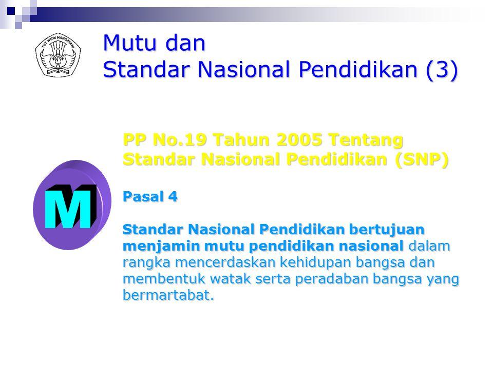 M Mutu dan Standar Nasional Pendidikan (3) PP No.19 Tahun 2005 Tentang