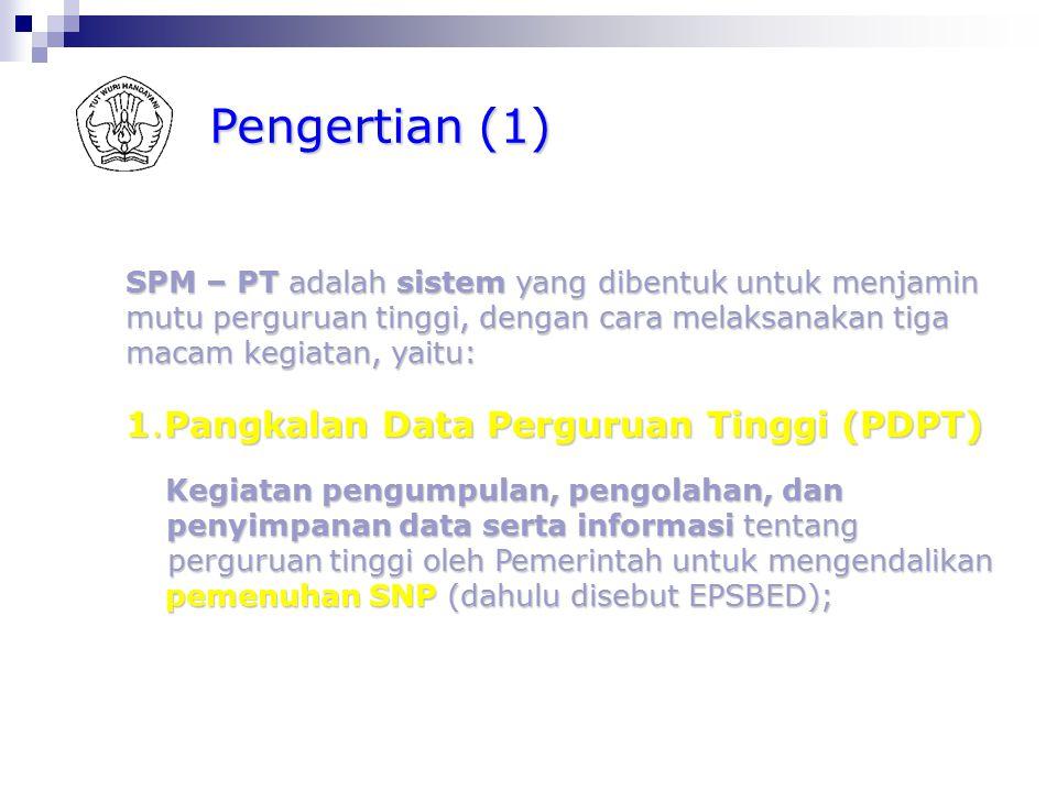 Pengertian (1) 1.Pangkalan Data Perguruan Tinggi (PDPT)