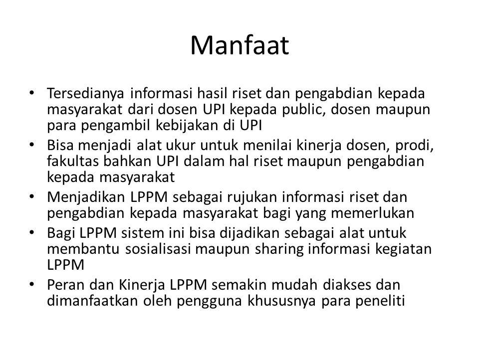 Manfaat Tersedianya informasi hasil riset dan pengabdian kepada masyarakat dari dosen UPI kepada public, dosen maupun para pengambil kebijakan di UPI.