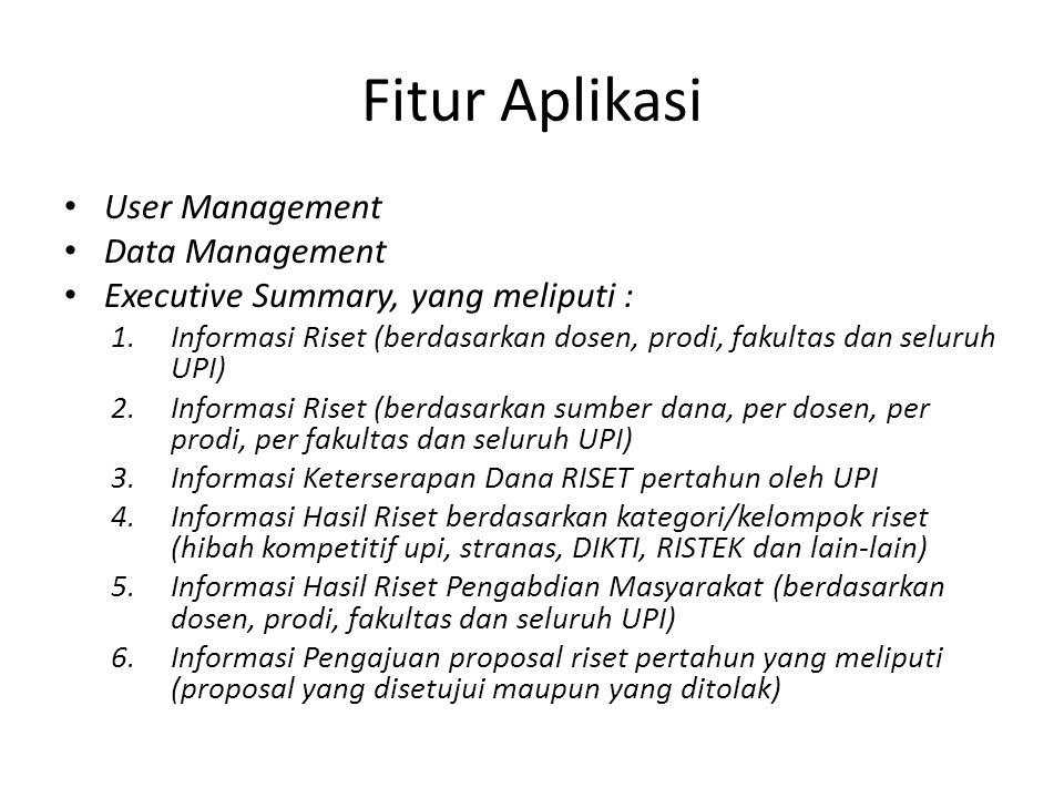 Fitur Aplikasi User Management Data Management