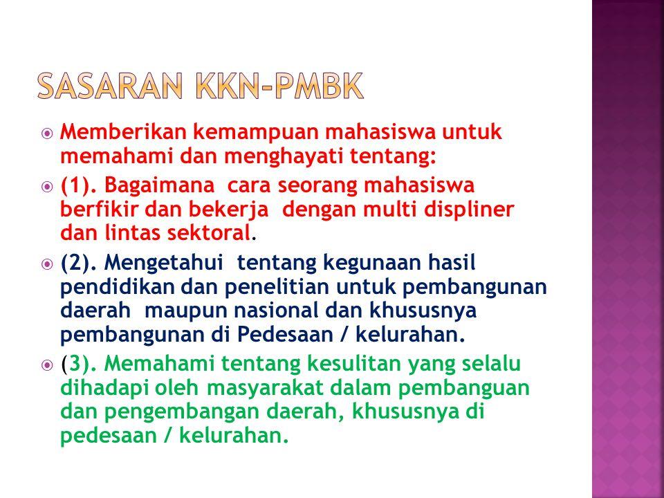 Sasaran KKN-PMBK Memberikan kemampuan mahasiswa untuk memahami dan menghayati tentang: