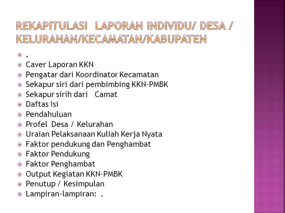 REKAPITULASI Laporan INDIVIDU/ Desa / Kelurahan/KECAMATAN/KABUPATEN