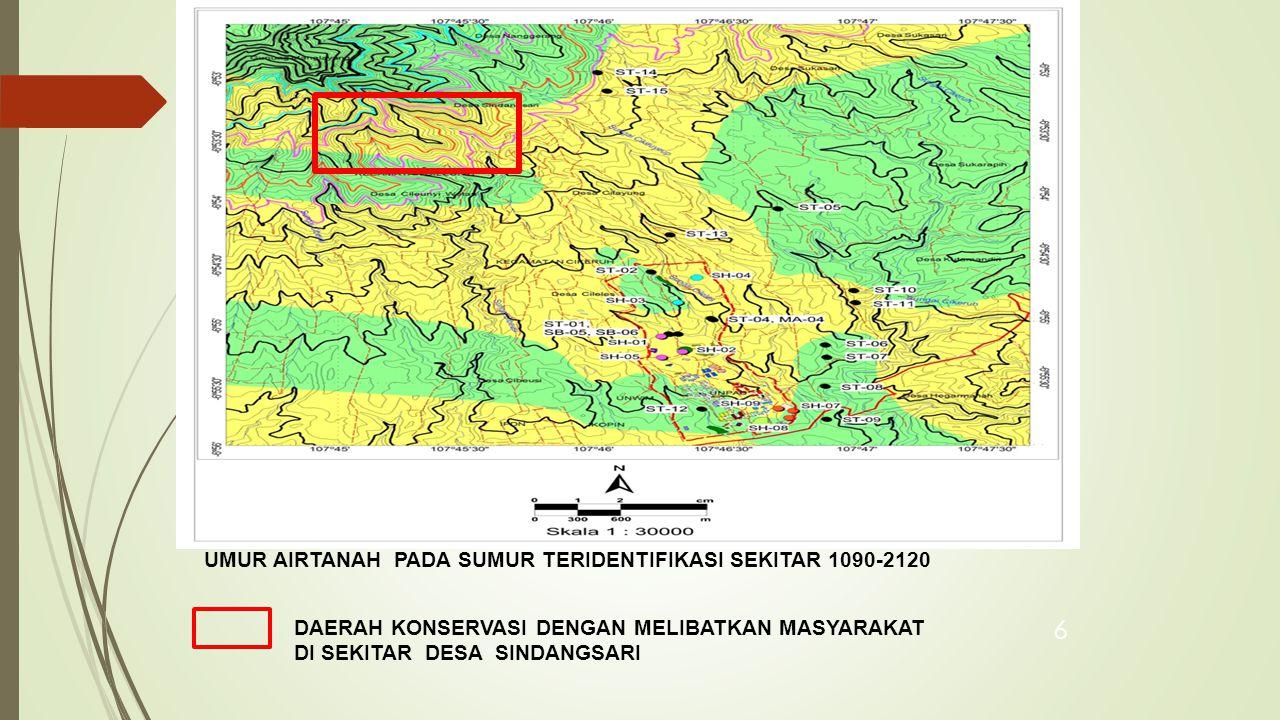 UMUR AIRTANAH PADA SUMUR TERIDENTIFIKASI SEKITAR 1090-2120
