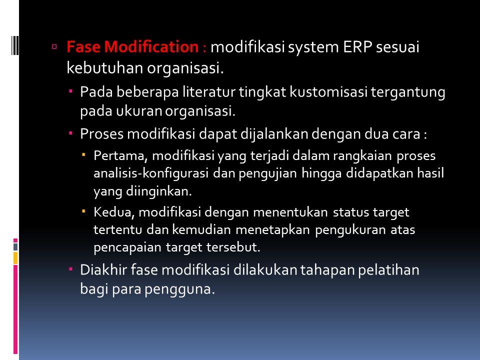 Fase Modification : modifikasi system ERP sesuai kebutuhan organisasi.