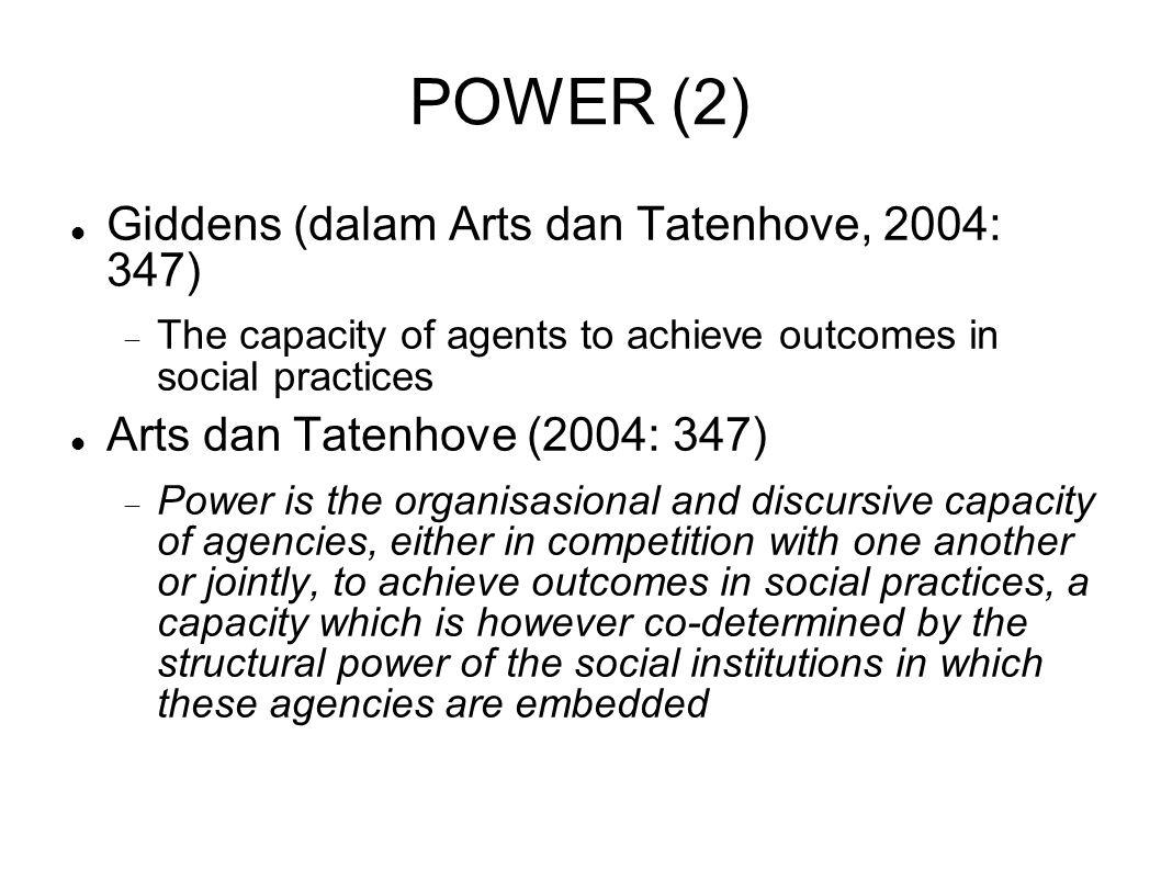 POWER (2) Giddens (dalam Arts dan Tatenhove, 2004: 347)