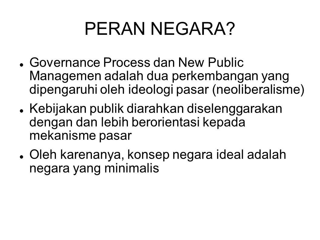 PERAN NEGARA Governance Process dan New Public Managemen adalah dua perkembangan yang dipengaruhi oleh ideologi pasar (neoliberalisme)
