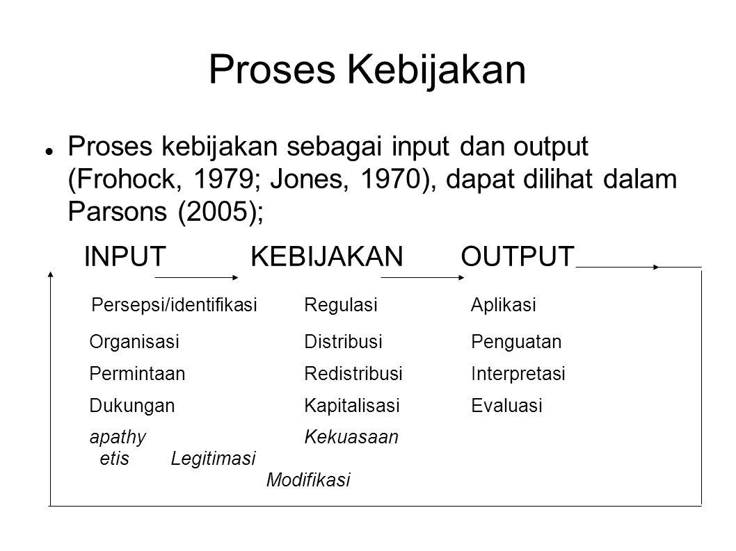 Proses Kebijakan Proses kebijakan sebagai input dan output (Frohock, 1979; Jones, 1970), dapat dilihat dalam Parsons (2005);