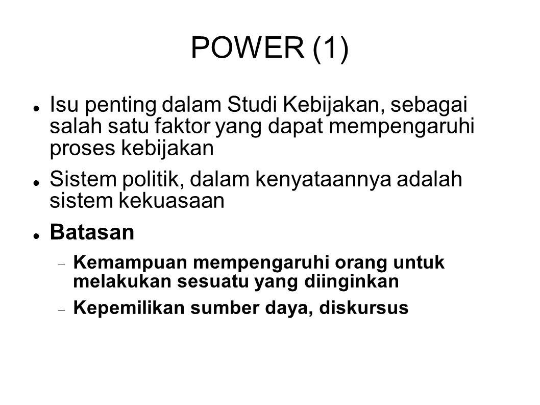 POWER (1) Isu penting dalam Studi Kebijakan, sebagai salah satu faktor yang dapat mempengaruhi proses kebijakan.