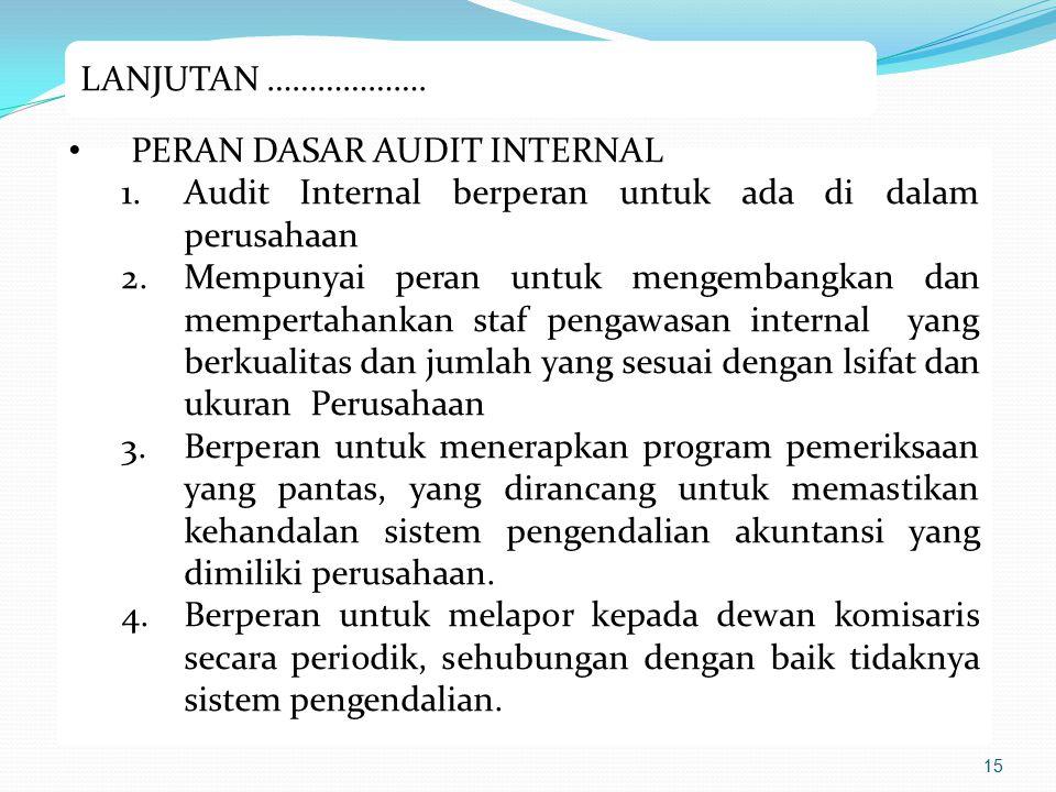 LANJUTAN ………………. PERAN DASAR AUDIT INTERNAL. Audit Internal berperan untuk ada di dalam perusahaan.