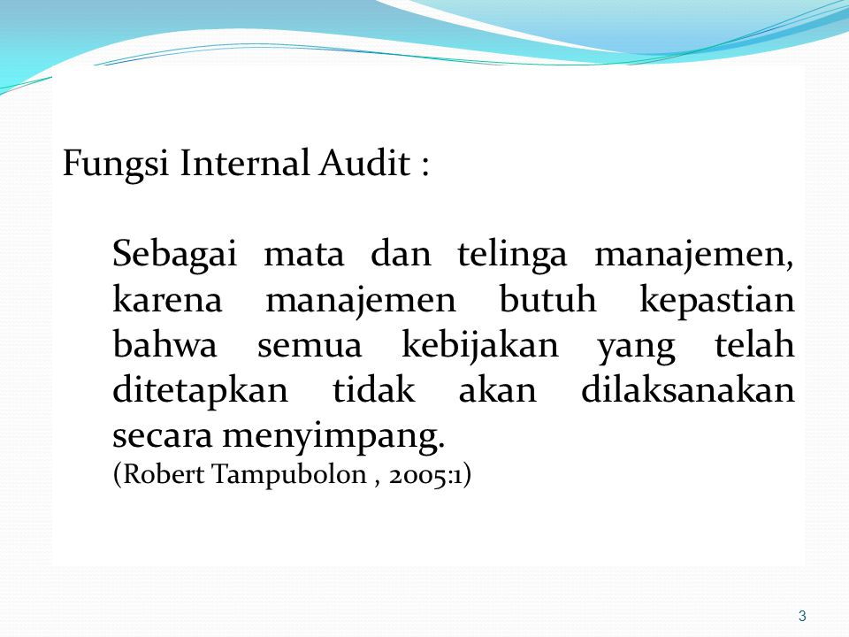 Fungsi Internal Audit :