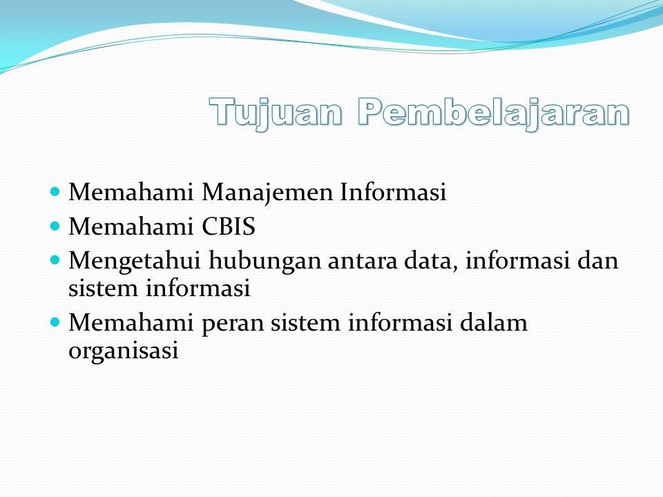 Tujuan Pembelajaran Memahami Manajemen Informasi Memahami CBIS