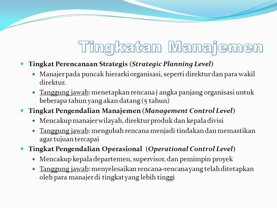 Tingkatan Manajemen Tingkat Perencanaan Strategis (Strategic Planning Level)