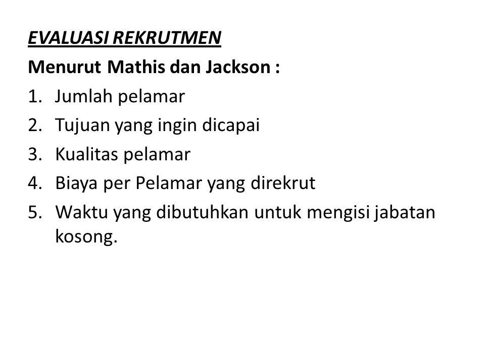 EVALUASI REKRUTMEN Menurut Mathis dan Jackson : Jumlah pelamar. Tujuan yang ingin dicapai. Kualitas pelamar.