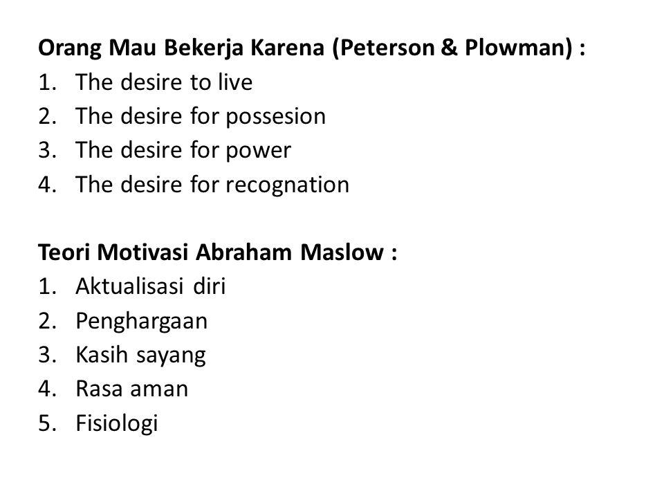 Orang Mau Bekerja Karena (Peterson & Plowman) :