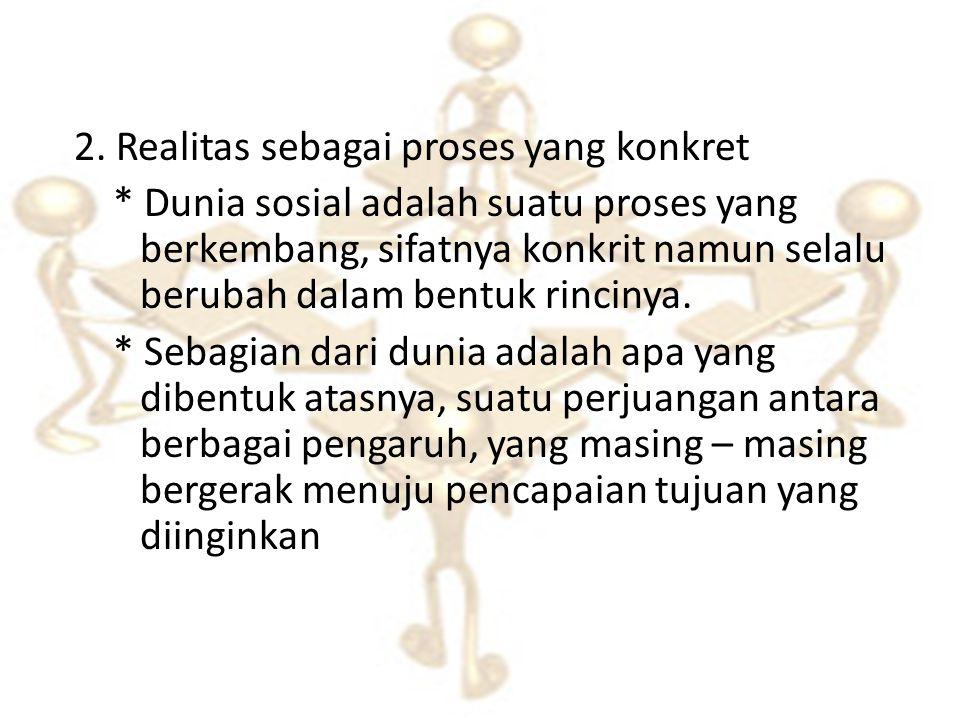 2. Realitas sebagai proses yang konkret