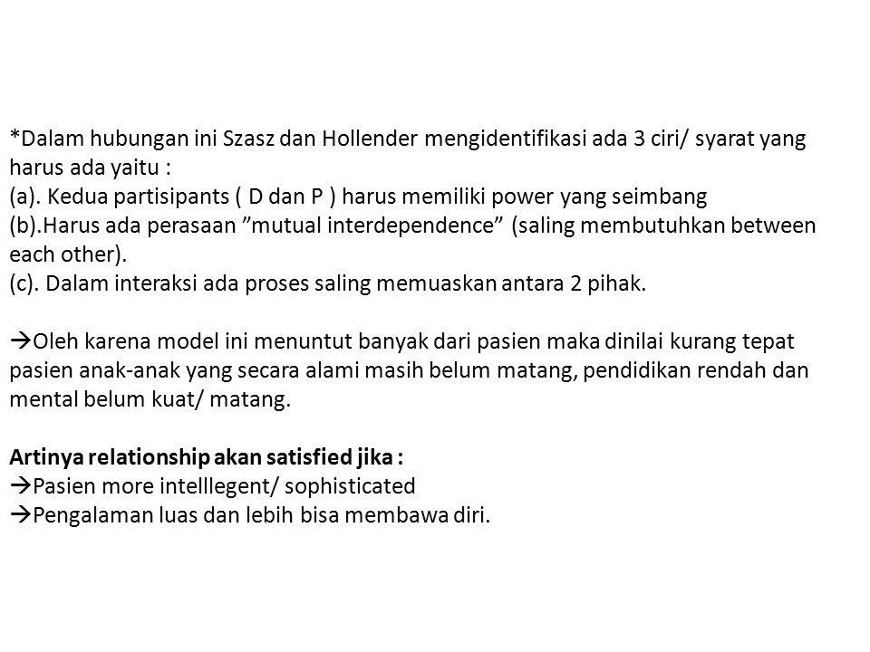 *Dalam hubungan ini Szasz dan Hollender mengidentifikasi ada 3 ciri/ syarat yang harus ada yaitu : (a).