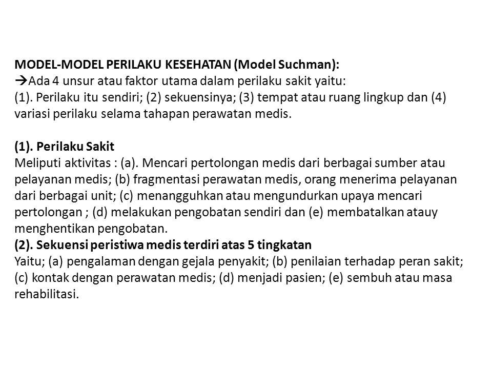 MODEL-MODEL PERILAKU KESEHATAN (Model Suchman): Ada 4 unsur atau faktor utama dalam perilaku sakit yaitu: (1).