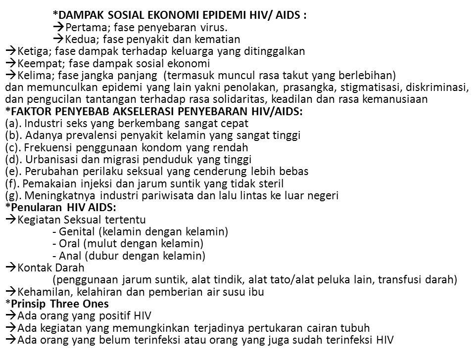 DAMPAK SOSIAL EKONOMI EPIDEMI HIV/ AIDS :