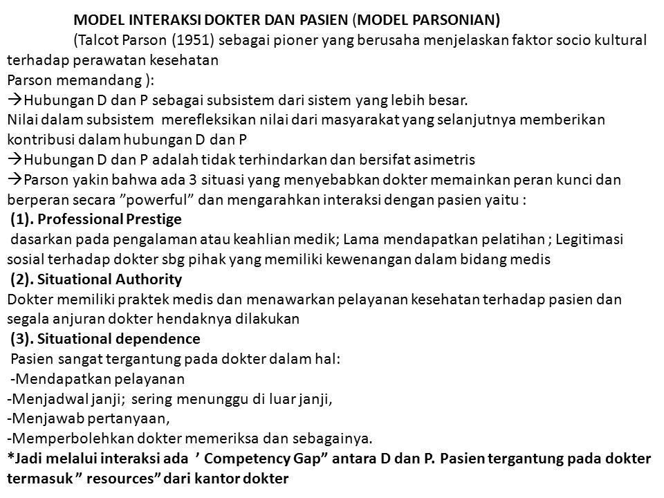 MODEL INTERAKSI DOKTER DAN PASIEN (MODEL PARSONIAN)