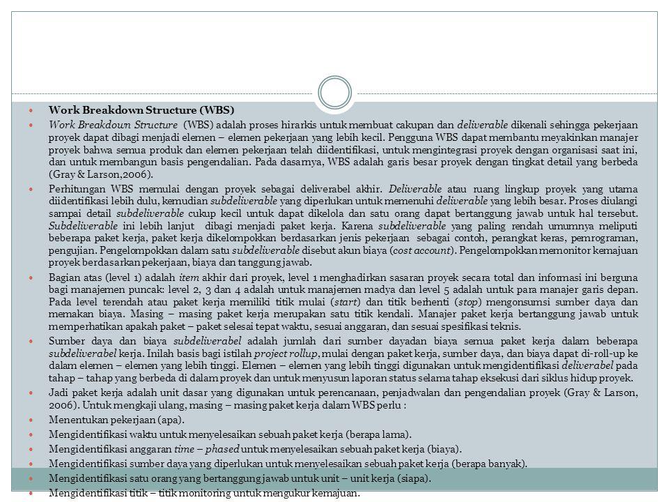 Work Breakdown Structure (WBS)