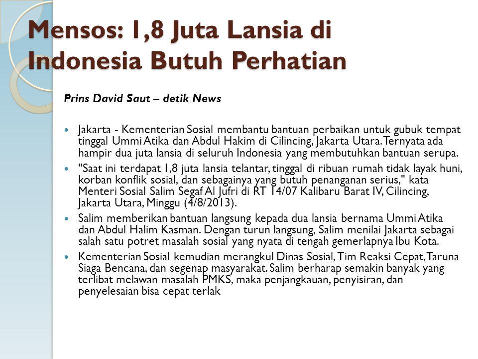 Mensos: 1,8 Juta Lansia di Indonesia Butuh Perhatian