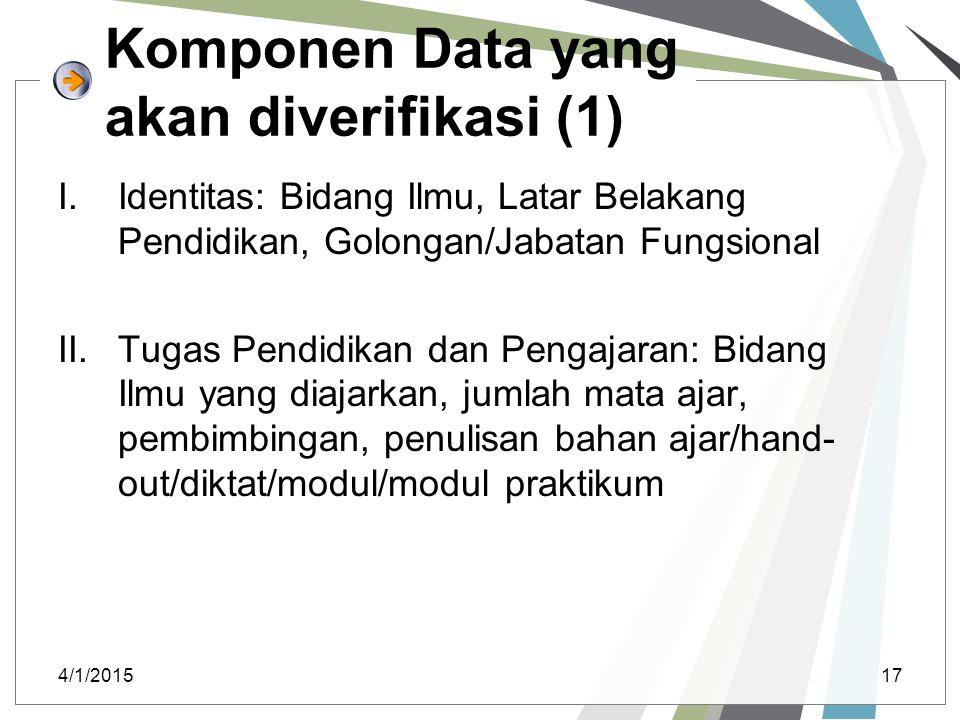 Komponen Data yang akan diverifikasi (1)