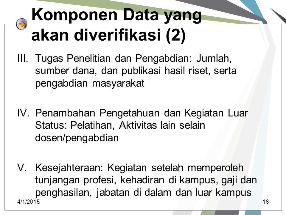 Komponen Data yang akan diverifikasi (2)