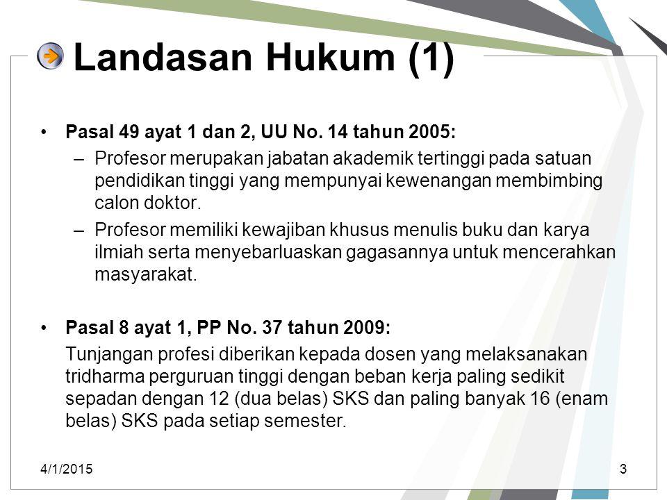 Landasan Hukum (1) Pasal 49 ayat 1 dan 2, UU No. 14 tahun 2005: