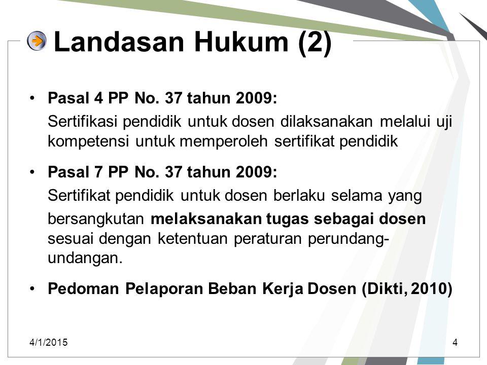 Landasan Hukum (2) Pasal 4 PP No. 37 tahun 2009: