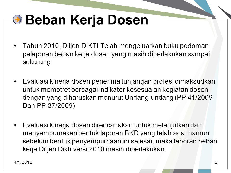 Beban Kerja Dosen Tahun 2010, Ditjen DIKTI Telah mengeluarkan buku pedoman pelaporan beban kerja dosen yang masih diberlakukan sampai sekarang.