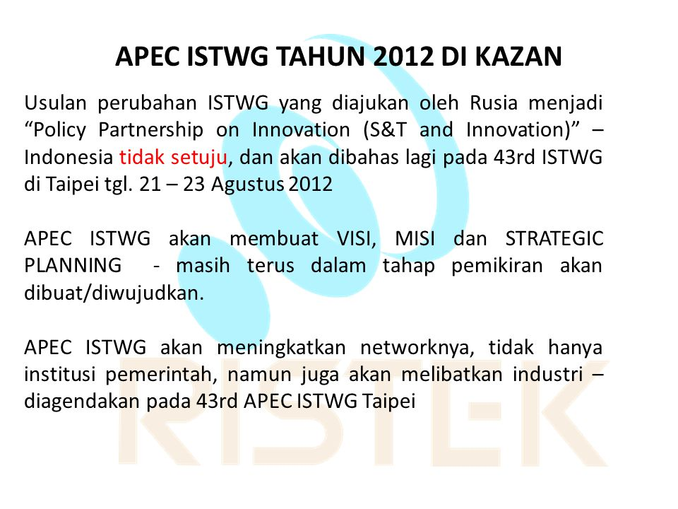 APEC ISTWG TAHUN 2012 DI KAZAN