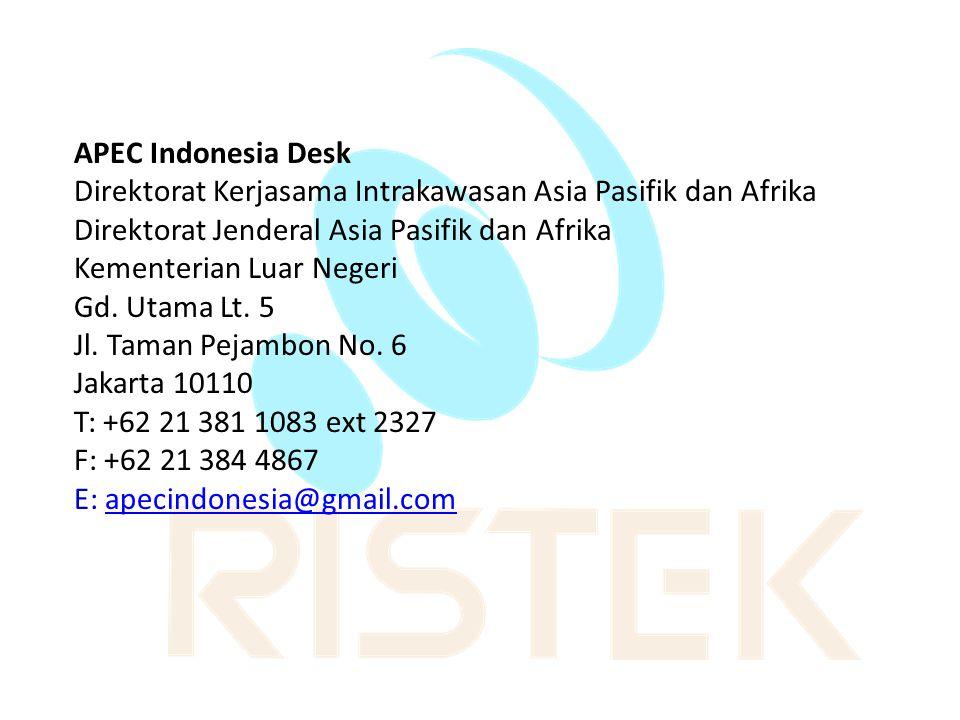 APEC Indonesia Desk Direktorat Kerjasama Intrakawasan Asia Pasifik dan Afrika. Direktorat Jenderal Asia Pasifik dan Afrika.