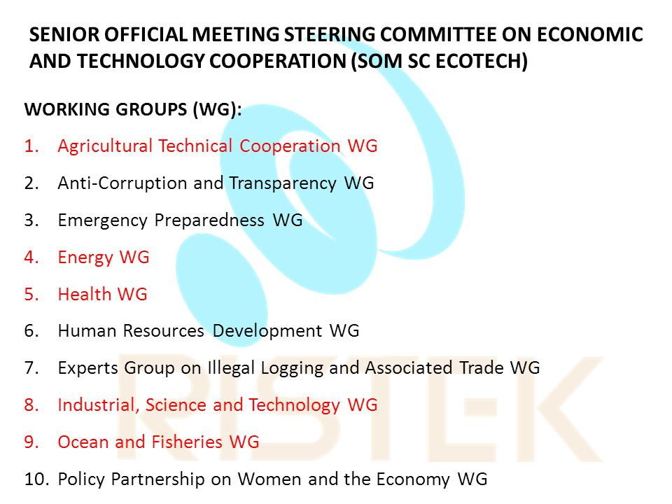 SENIOR OFFICIAL MEETING STEERING COMMITTEE ON ECONOMIC AND TECHNOLOGY COOPERATION (SOM SC ECOTECH)