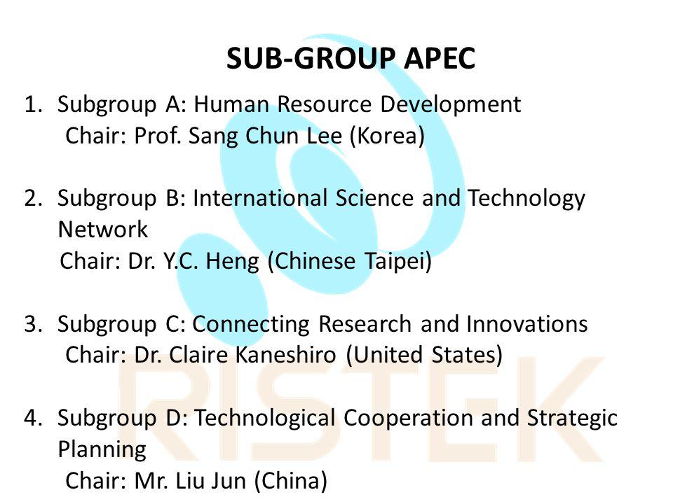SUB-GROUP APEC Subgroup A: Human Resource Development