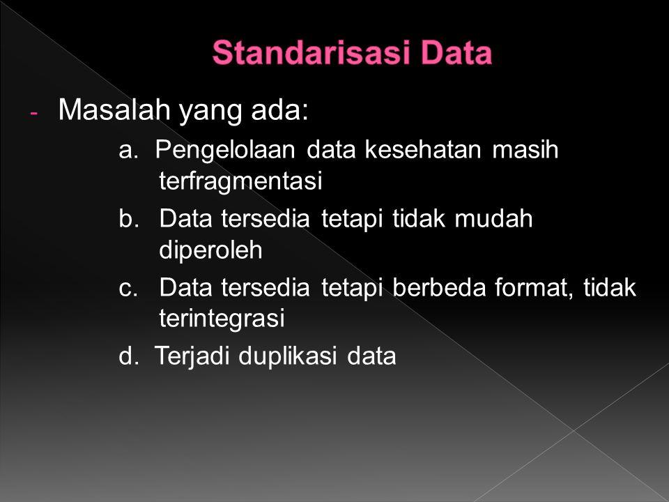 Standarisasi Data Masalah yang ada:
