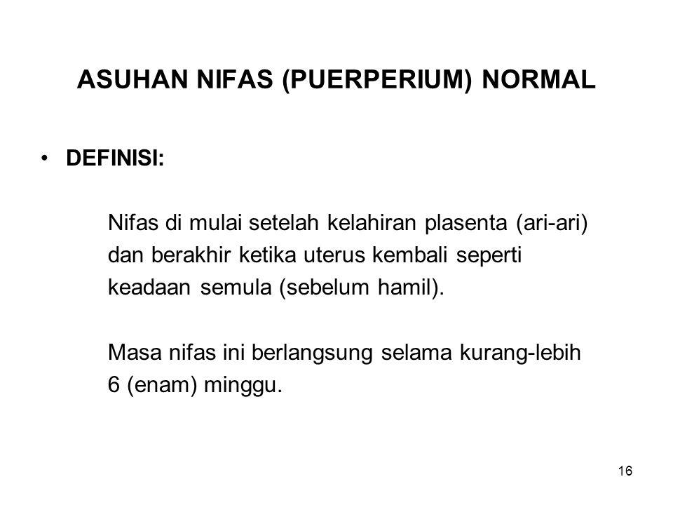 ASUHAN NIFAS (PUERPERIUM) NORMAL