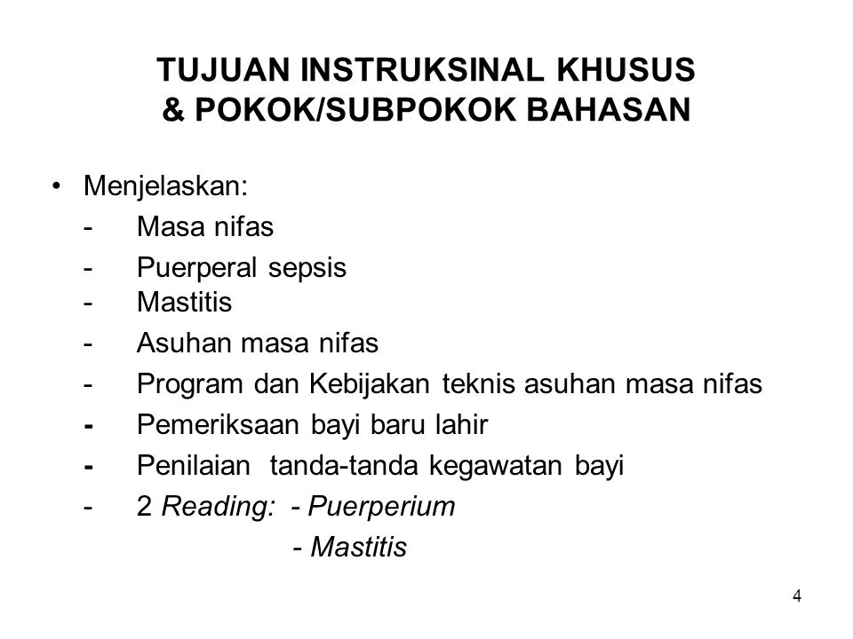 TUJUAN INSTRUKSINAL KHUSUS & POKOK/SUBPOKOK BAHASAN