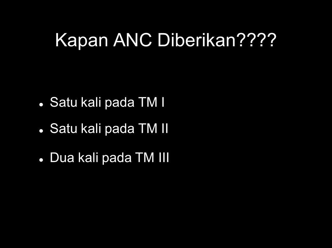 Kapan ANC Diberikan Satu kali pada TM I Satu kali pada TM II